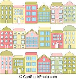 kolor, domy, wektor, rysunek, ilustracja