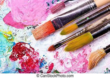 kolor, dużo, paleta, szczotki