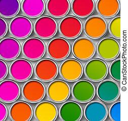 kolor, górny, namalujcie cynę, puszki, prospekt