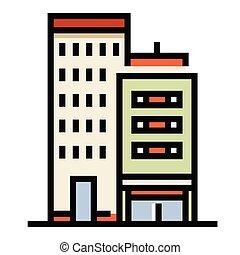 kolor, gmach, ilustracja, biuro, kreska
