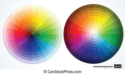 kolor, ilustracja, wektor, wheels.