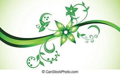 kolor, jasny, wektor, zielone tło