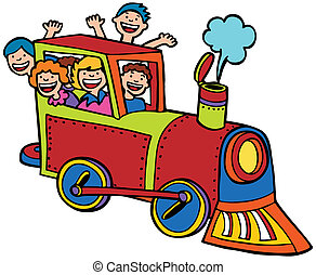 kolor, jazda, pociąg, rysunek
