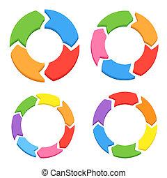 kolor, koło, wektor, strzały, set.