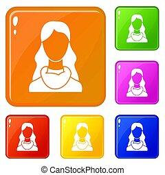 kolor, kobieta, komplet, ikony