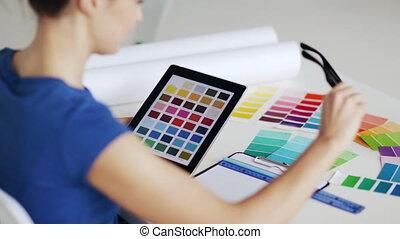 kolor, kobieta, wybór, próbki