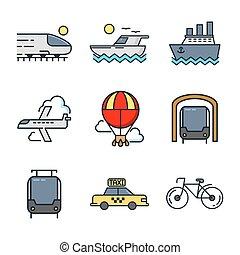 kolor, komplet, przewóz, ikona