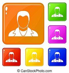 kolor, komplet, użytkownik, ikony