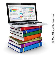 kolor, laptop, książki, stóg
