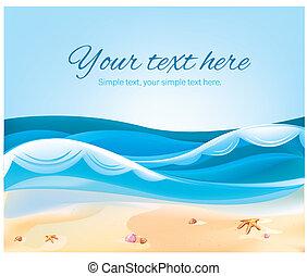 kolor, lato, plaża, ilustracja, ocean