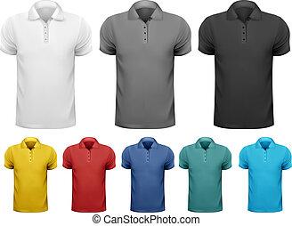 kolor, mężczyźni, czarnoskóry, t-shirts., template., wektor, projektować, biały