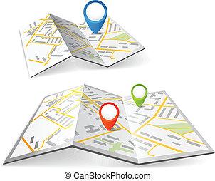 kolor, mapy, fałdowy, markiery, kropka