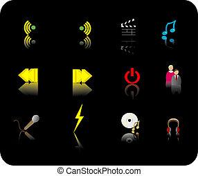kolor, media, komplet, ikona