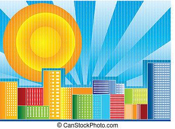 kolor, miasto, wektor, ilustracja