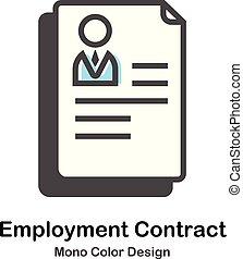 kolor, mono, zatrudnienie, kontrakt, ilustracja
