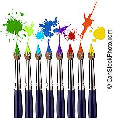 kolor, namalujcie szczotki, bryzg