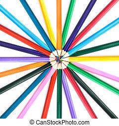 kolor, ołówki, biały, odizolowany
