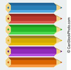 kolor, ołówki, styl, 'flat', wektor
