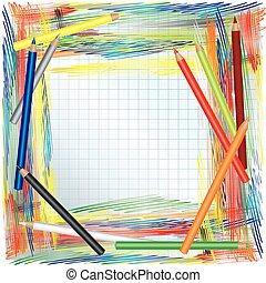 kolor, ołówki, tło