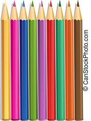 kolor, ołówki, wektor