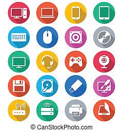 kolor, płaski, komputerowe ikony