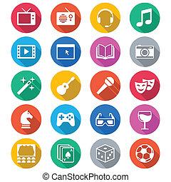 kolor, płaski, rozrywka, ikony