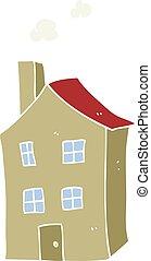 kolor, płaski, rysunek, ilustracja, dom
