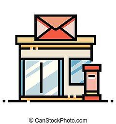 kolor, poczta, ilustracja, biuro, kreska