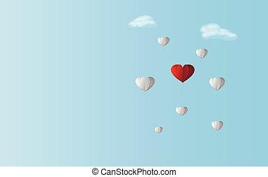 kolor, przez, niebo, ale, balloon, tło., powietrze, temat, balony, miłość, istota, różnica, kierunek, serce, tak samo, między, dzieło, czerwony, para, błękitny, chodzenie, teamwork, valentine, razem, pojęcie, biały