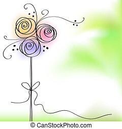 kolor, róża, flowe, powitanie karta