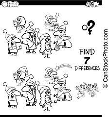 kolor, różnice, książka, znaleźć, boże narodzenie