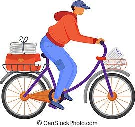 kolor, służba, biały, news., gazeta, rozplakatować człowieka, rower, biuro, rysunek, odizolowany, litera, pracownik, samczyk młody, carrier., rower, rozdziela, delivery., paperboy, illustration., płaski, wstecz, wektor