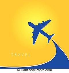 kolor, samolot, wektor, podróż