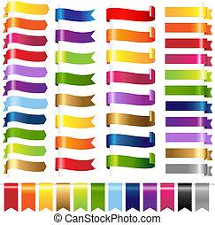 kolor, sieć, komplet, wstążki