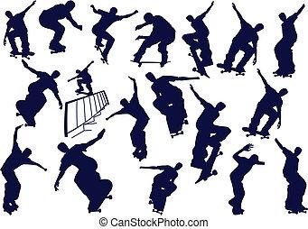 kolor, stuknięcie, chłopcy, skateboard, jeden, zmiana, wektor, illustration.