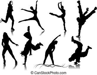 kolor, stuknięcie, kobiety, silhouettes., jeden, zmiana, wektor, stosowność