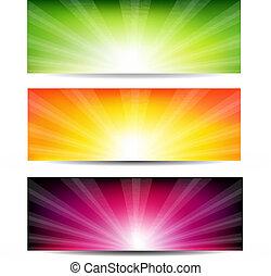 kolor, sunburst, abstrakcyjny, komplet, chorągiew