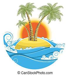kolor, symbol, tropikalny, tło słońca, odizolowany, island., wektor, motyw morski, biały