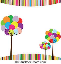 kolor, tęcza, abstrakcyjny, drzewo, wiosna