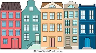 kolor, wektor, domy, ilustracja, hałas