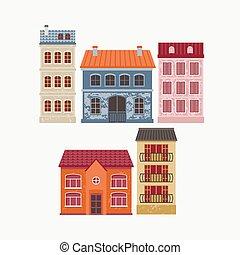 kolor, wektor, houses., ilustracja, budowa.