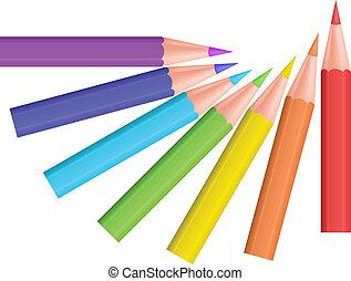 kolor, wektor, pencils., illustration.