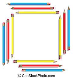 kolor, wektor, pencils., szesnaście