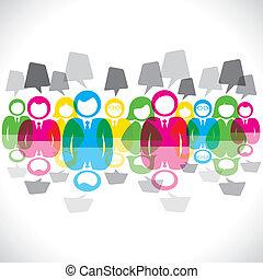 kolor, wiadomość, b, spotkanie, biznesmeni