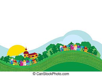 kolor, wieś, ilustracja, wektor