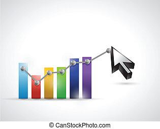 kolor, wykres, handlowy, kursor, ilustracja