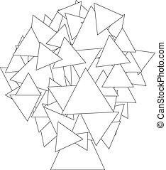 kolorowanie, -, abstrakcyjny, drzewo, ilustracja, książka, robiony, triangle