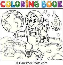 kolorowanie, astronauta, temat, książka, 2