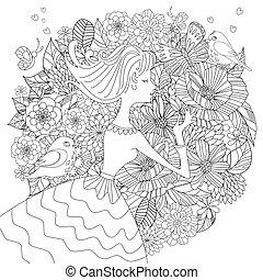 kolorowanie, fantazja, ptaszki, książka, ładna dziewczyna, kwiaty, twój