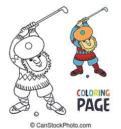 kolorowanie, golfista, piłka, wtykać, ma, strona